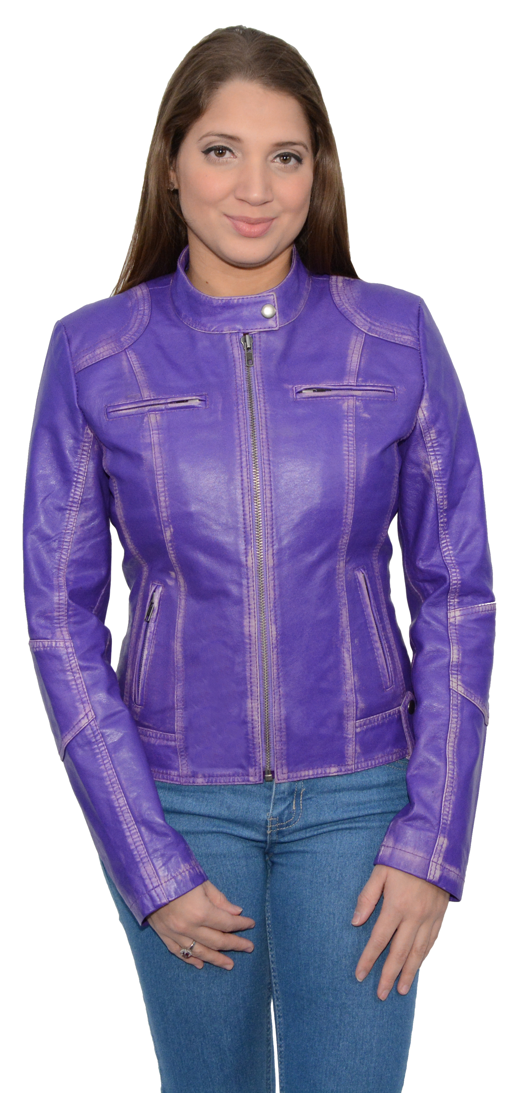 Women's Sheepskin Leather Scuba Style Motorcycle Jacket