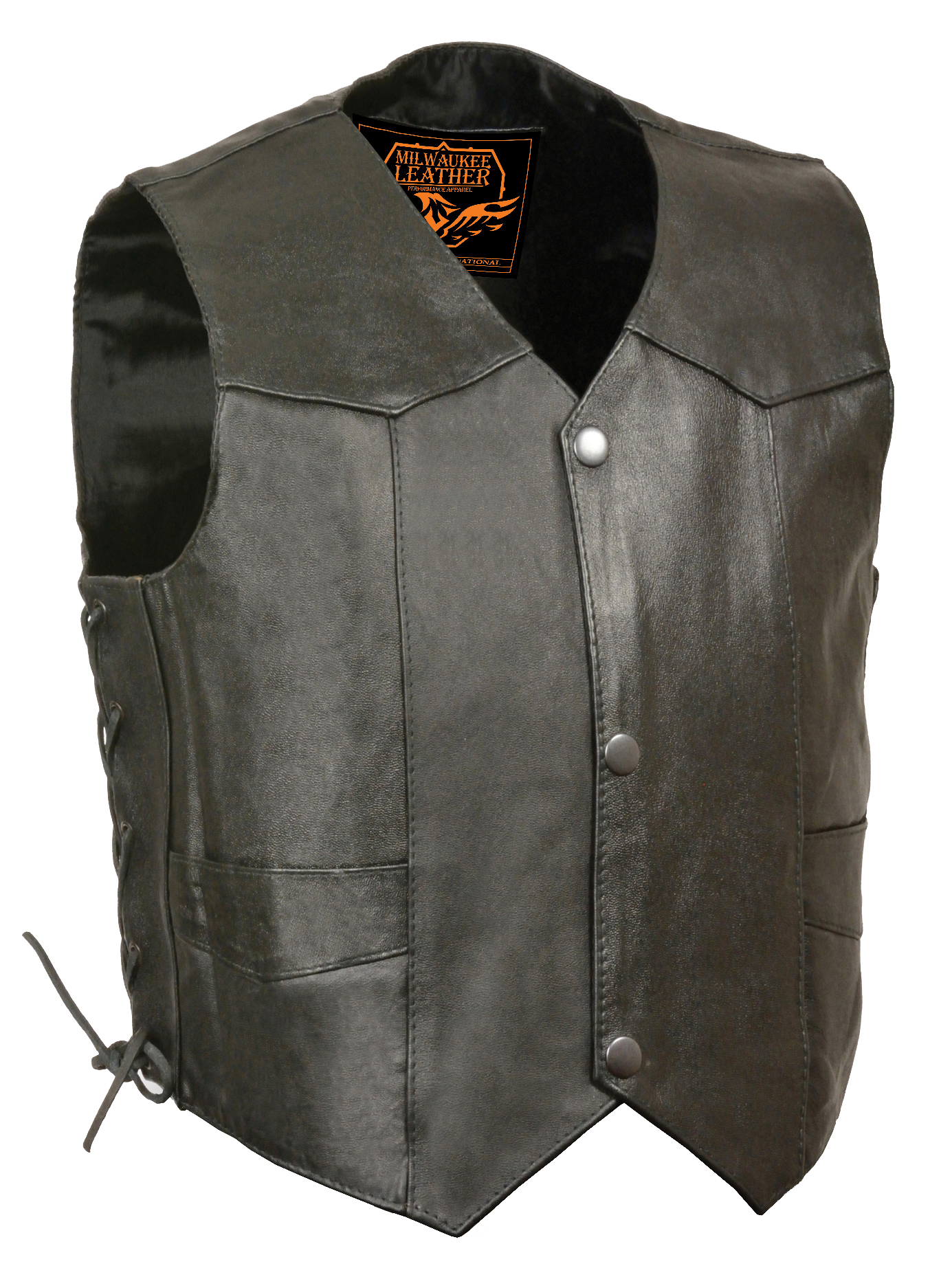 Black, 5X-Large Milwaukee Leather Kids Vest with Side Laces