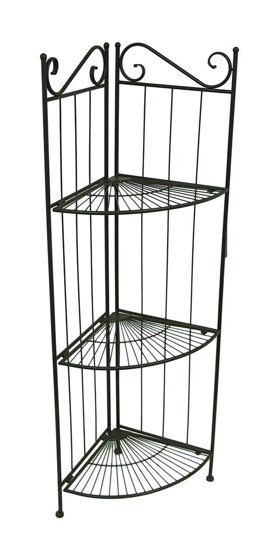 Zeckos 3-Tier Black Metal Wire Corner Shelf Rack 45 in.