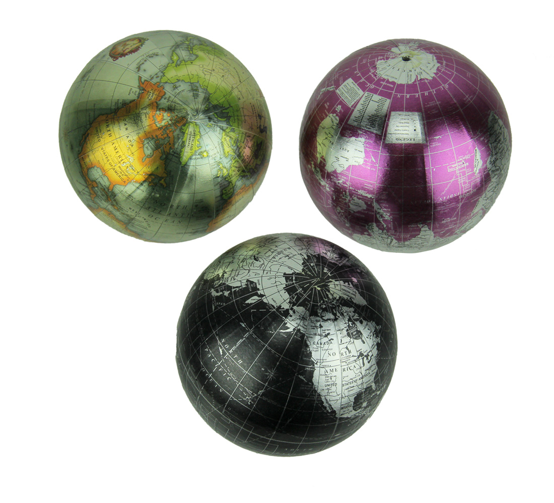 Colorful Metallic World Globe Decor Balls Set of 3