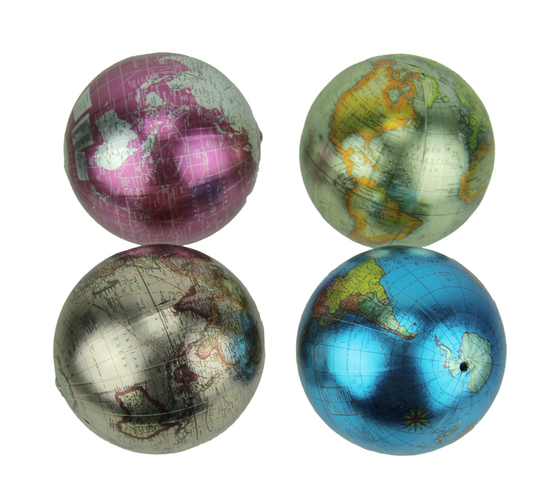 Colorful Metallic World Globe Decor Balls Set of 4
