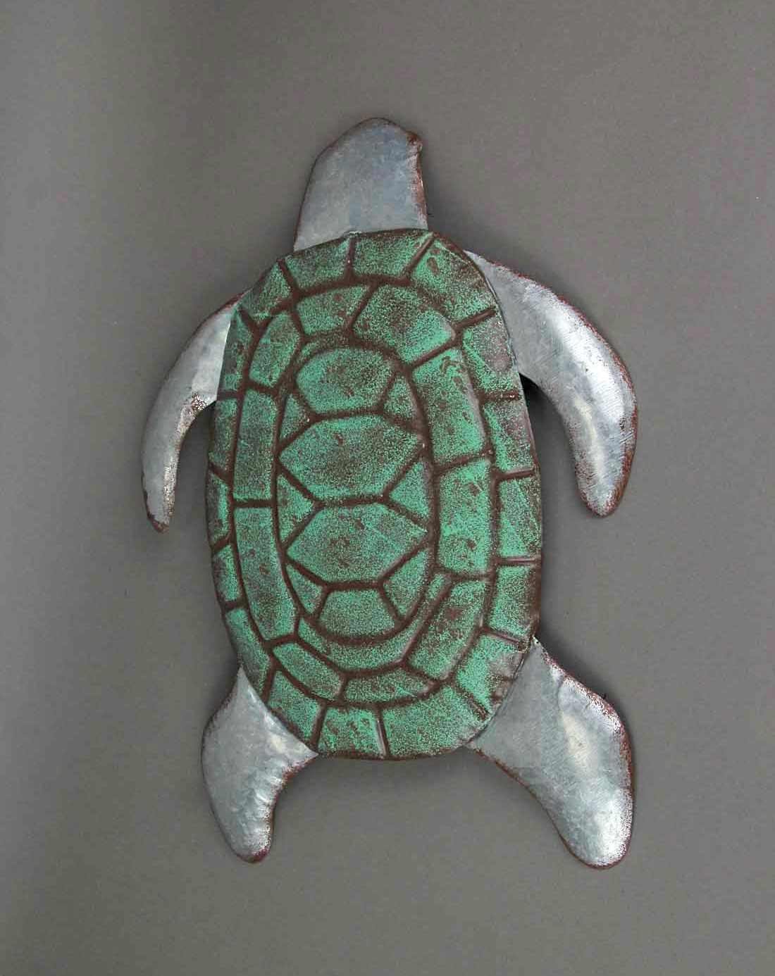 thumbnail 3 - Galvanized Zinc Finish Metal Sea Turtle Wall Hanging With Painted Shell