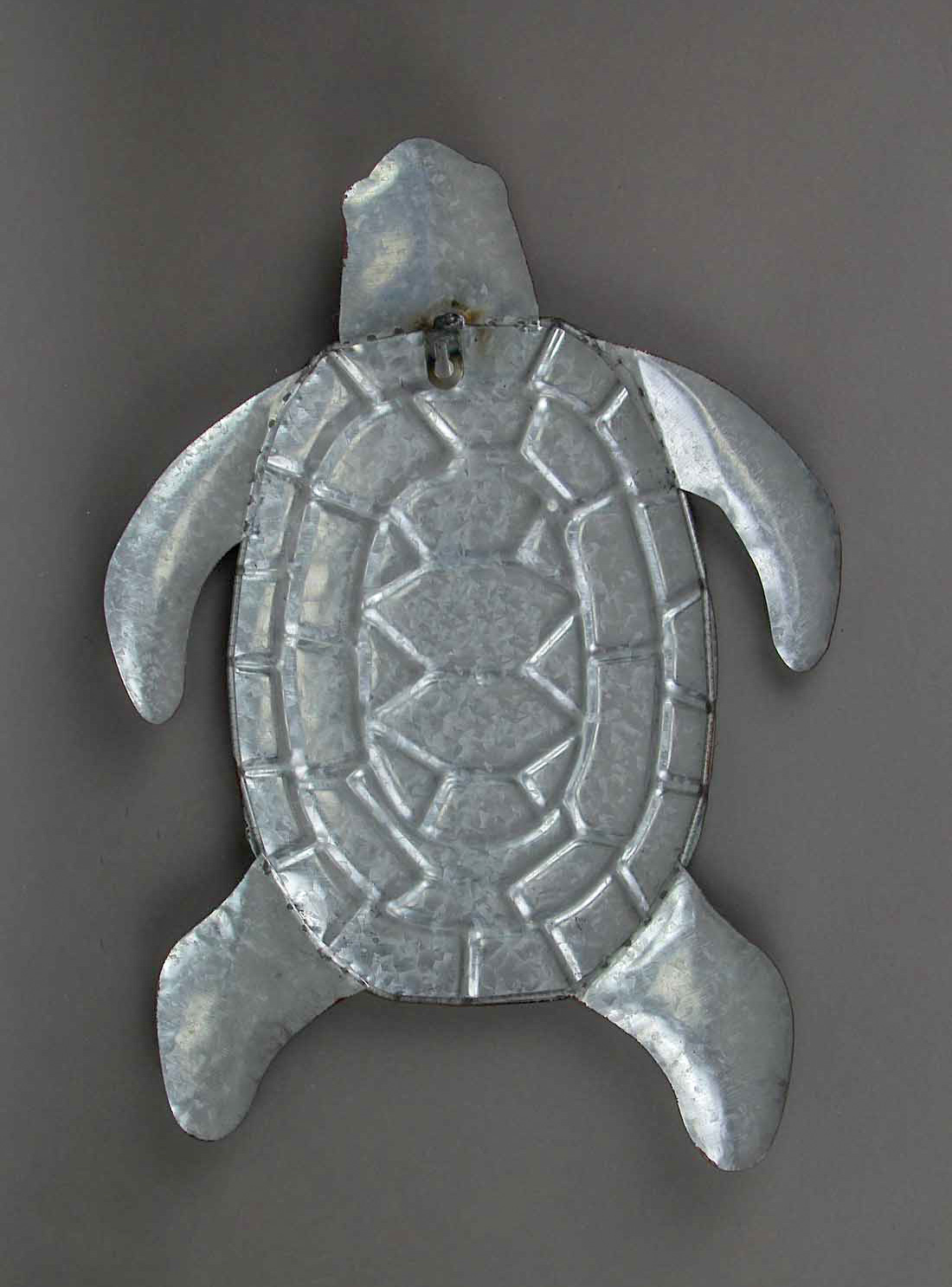 thumbnail 4 - Galvanized Zinc Finish Metal Sea Turtle Wall Hanging With Painted Shell