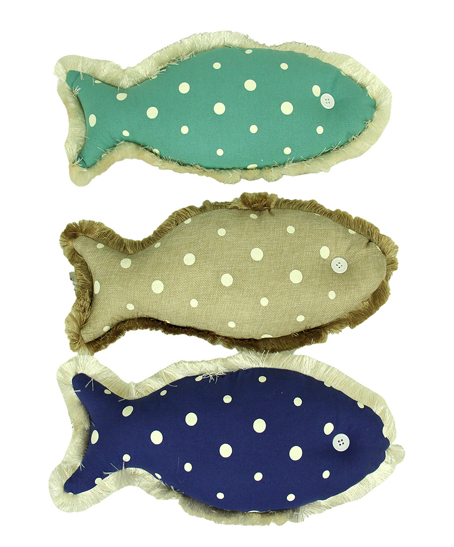 Set of 3 polka dot canvas fish shaped accent pillows ebay for Fish shaped pillow