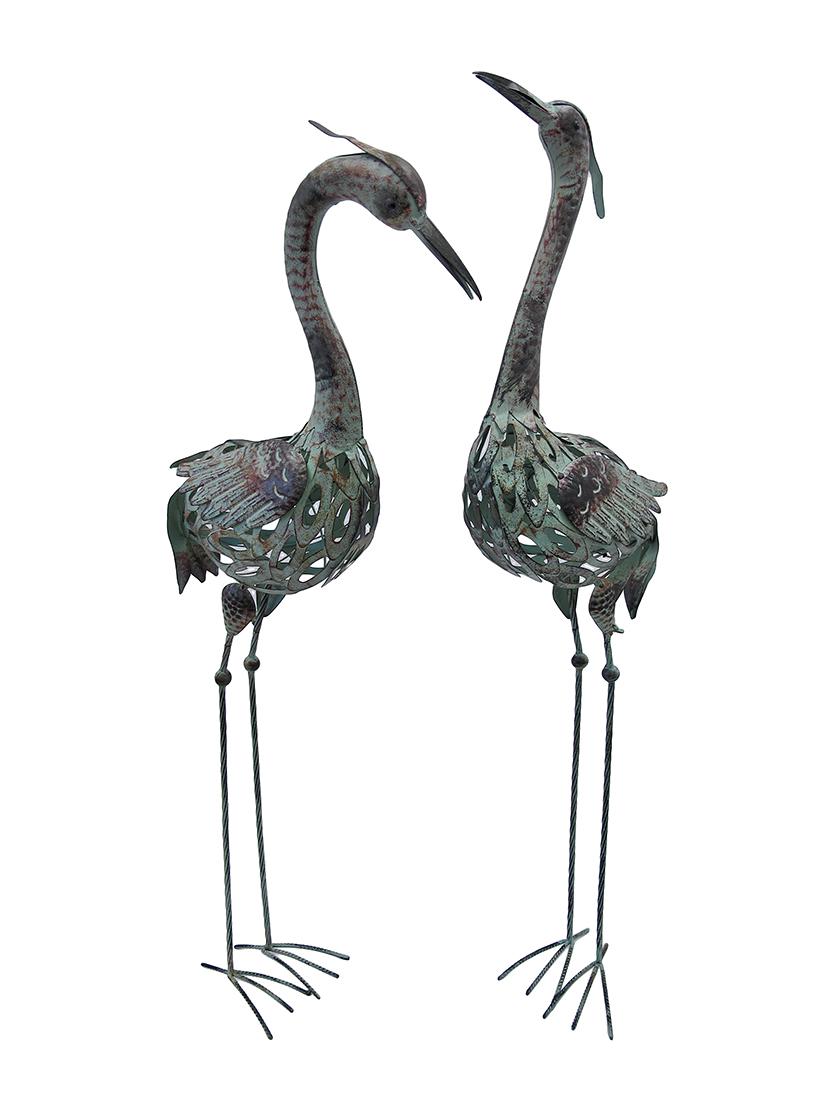 Pair Of Metal Crane Statues Lawn And Garden Decor   Zeckos