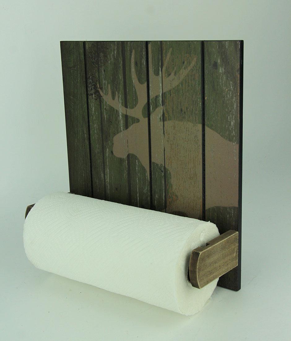 Rustic-Wood-Wildlife-Hanging-Paper-Towel-Holder miniature 3