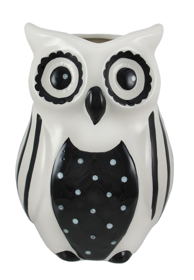 Black And White Ceramic Owl Vase Ebay