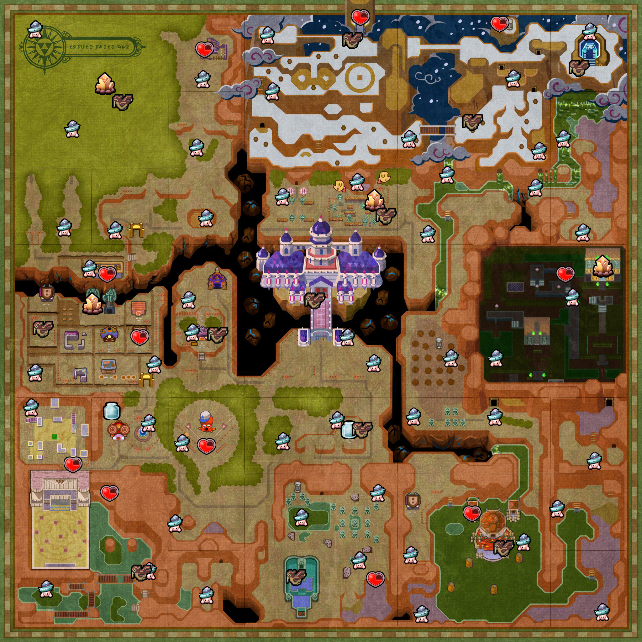 Link Between Worlds Map Collectibles Map   ZeldaSpeedRuns