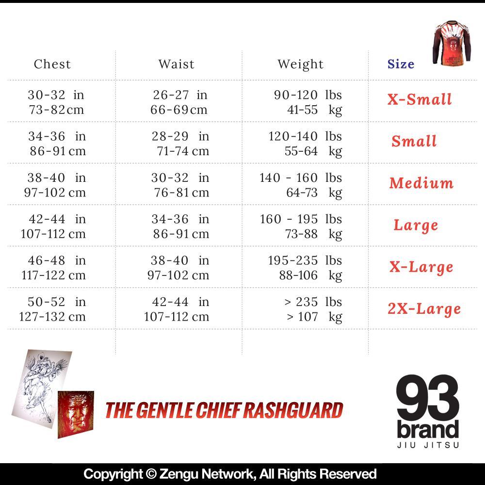 Rashguard Sizing Chart