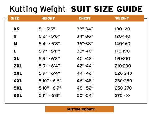 Kutting Weight Suit Sizing Chart