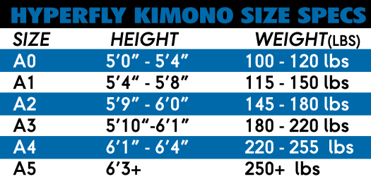 Do or Die Gi Sizing Chart
