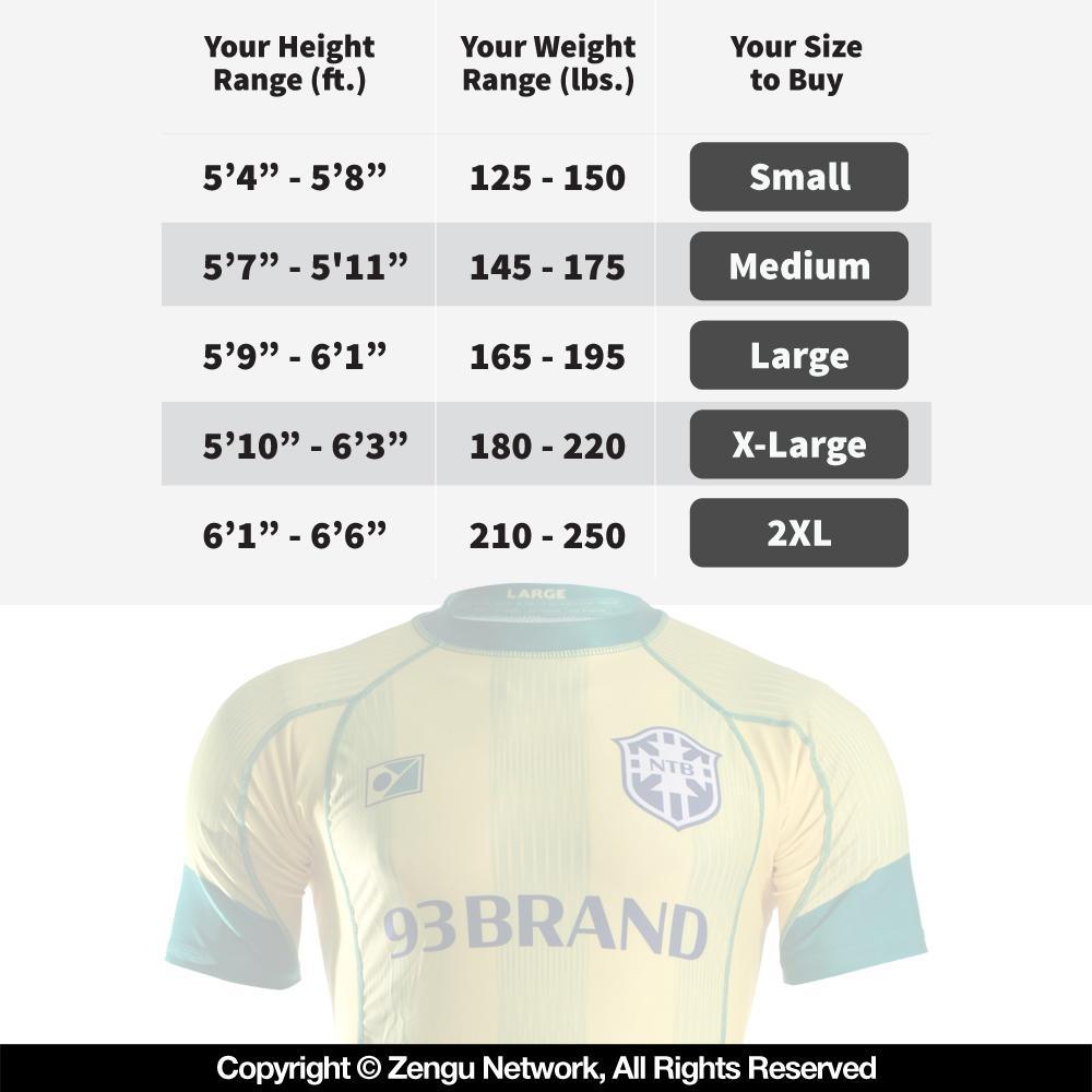 93 Brand Rashguard Sizing Chart