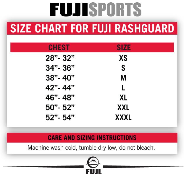 fuji rashguard sizing chart