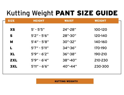 Kutting Weight Pants Sizing Chart