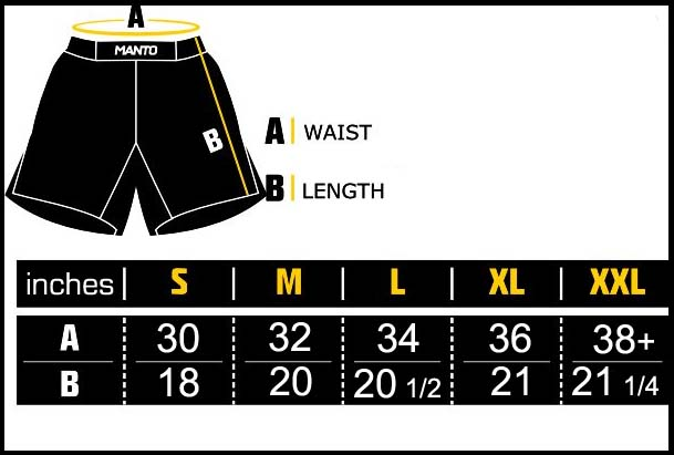 Manto BJJ Shorts Sizing Chart