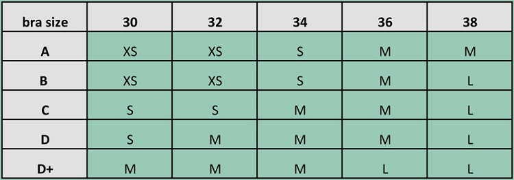 Scramble Sports Bra Sizing
