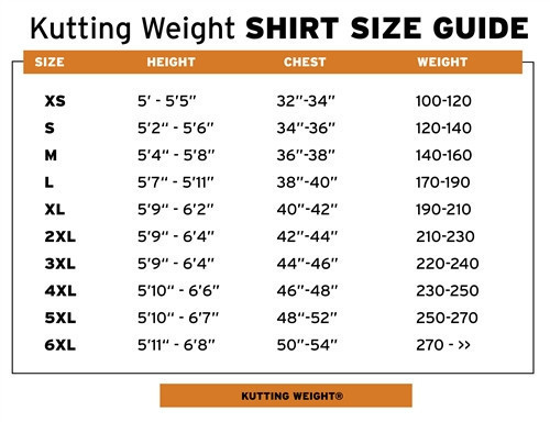 Kutting Weight Shirt Sizing Chart