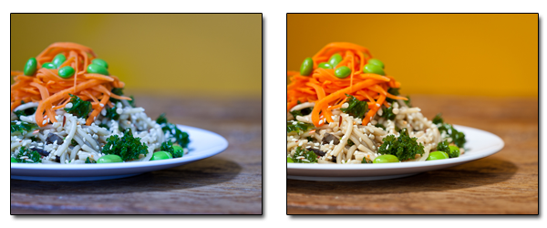 Food photography relies heavily on having the correct white balance, otherwise the photographs may not look very appetizing!