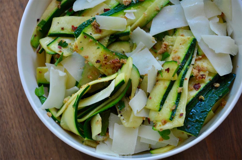 Cheesy Flat Zucchini Noodles