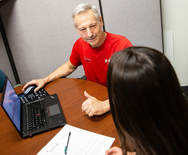 man giving free health assessment