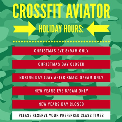 NEW HOLIDAY HOURS