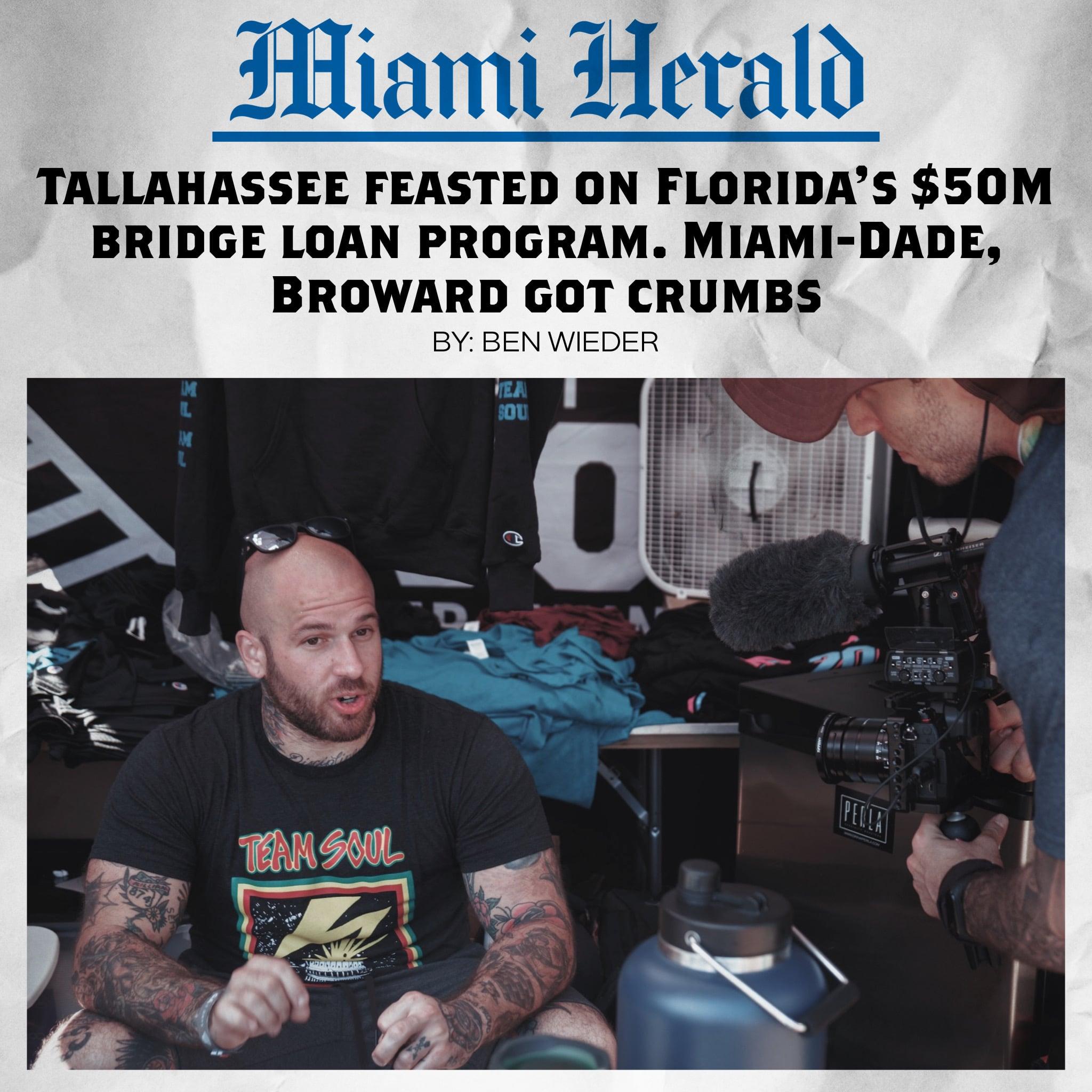 Miami Herald: Tallahassee feasted on Florida's $50M bridge loan program. Miami-Dade, Broward got crumbs