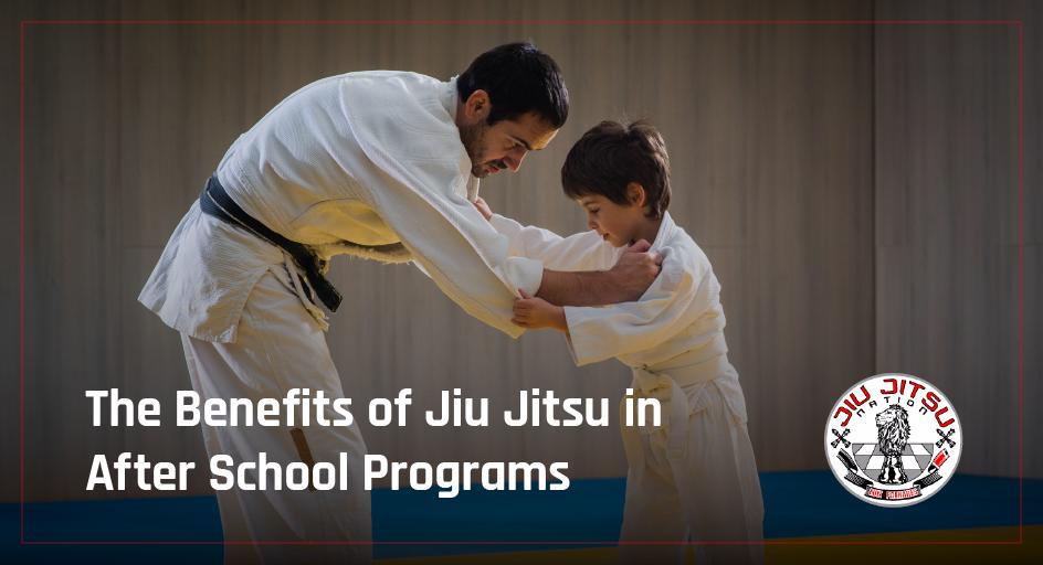 blog image of child learning jiu jitsu technique; blog title: the benefits of jiu jitsu in after school programs