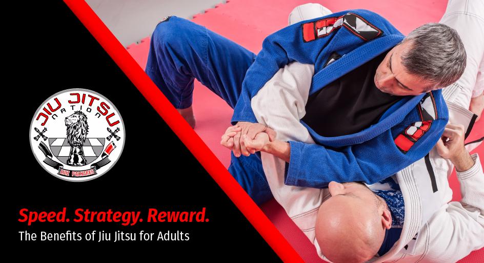 blog image of adults in jiu jitsu combat; blog title: the benefits of jiu jitsu for adults