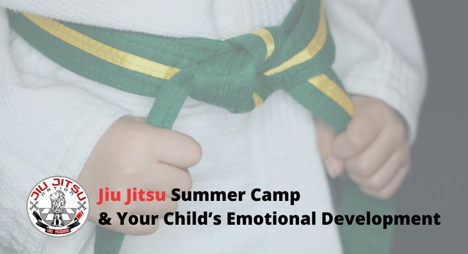 blog image of a child in a youth jiu jitsu belt; blog title: Jiu Jitsu Summer Camp & Your Child's Emotional Development
