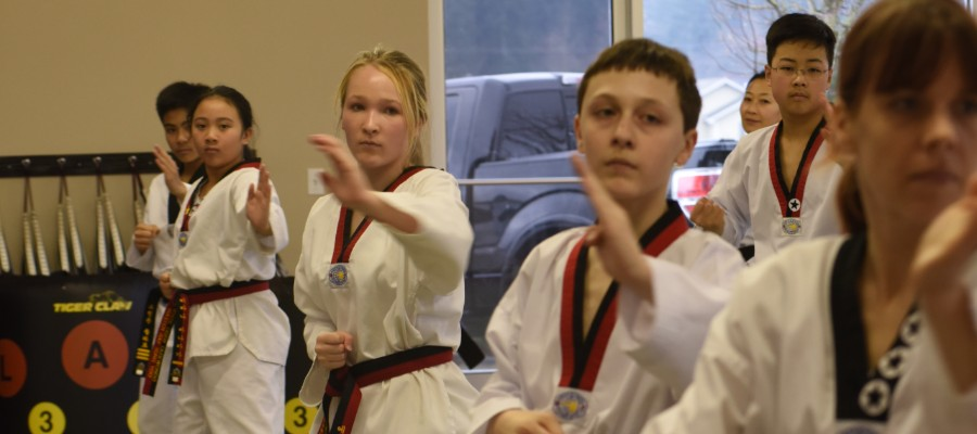 Students practicing Taekwondo form