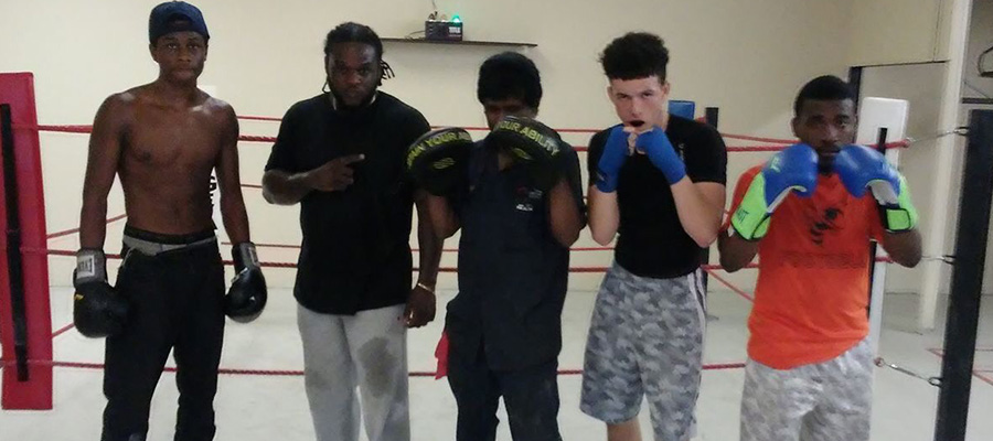 Young men at Primo in boxing ready stance