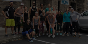 group standing outside after fitness class