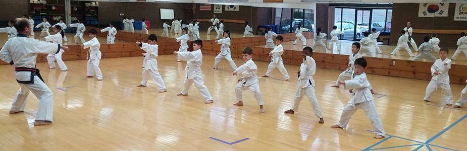 children practicing karate in Summit, NJ