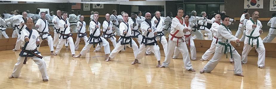 adults and Moo Duk Kwan masters practicing karate
