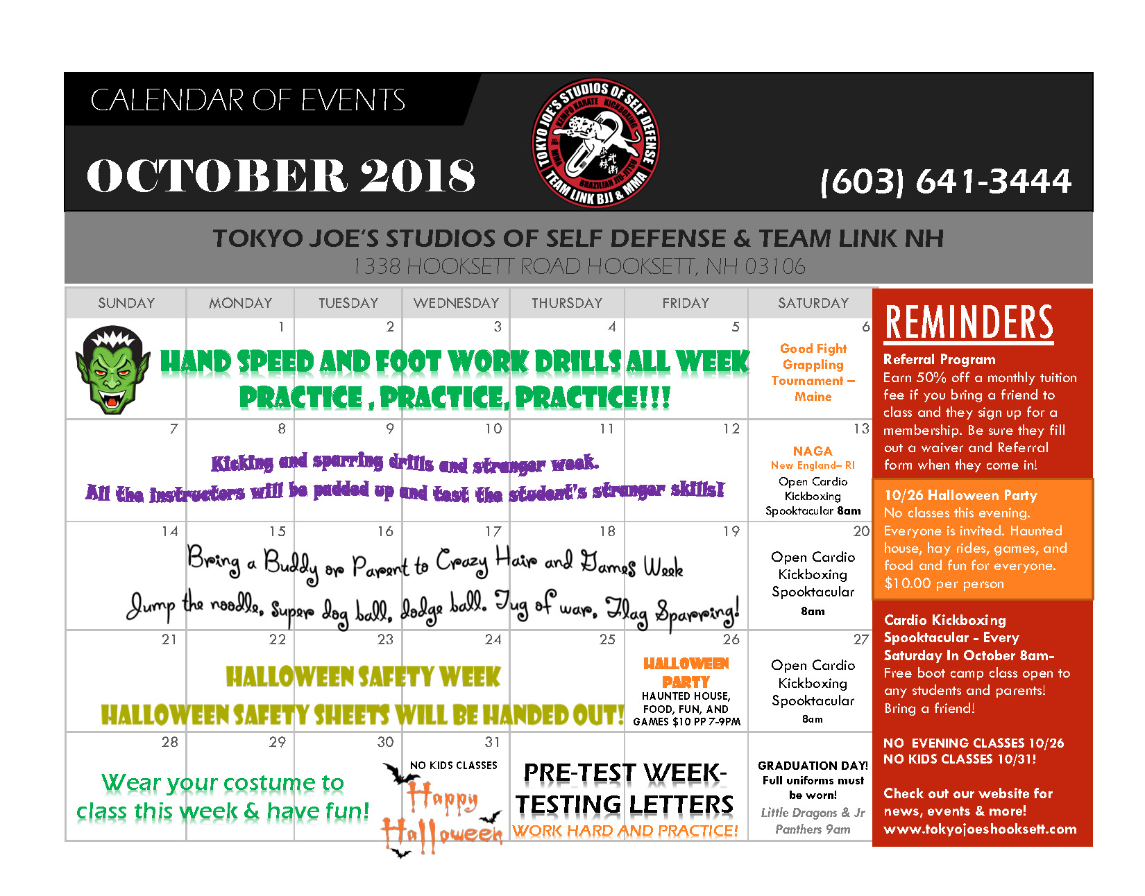 OCTOBER EVENTS CALENDAR!