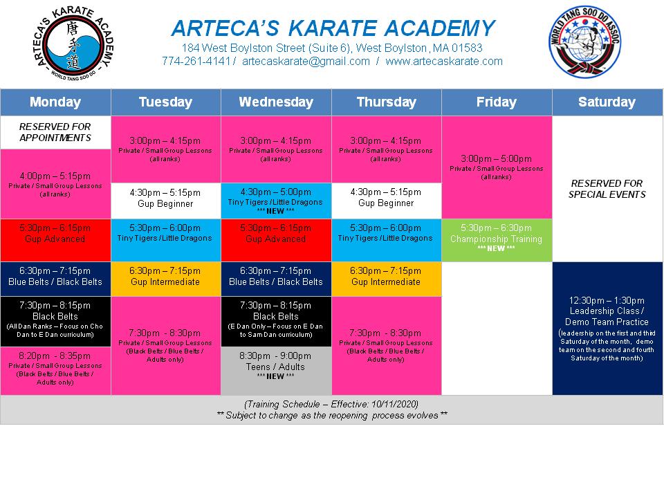 ArtecasKarateAcademy-TrainingSchedule-Effective10-11-2020-v1-Page1