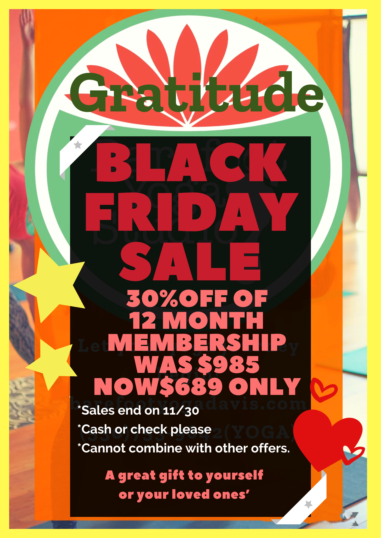 Annual Black Friday Membership Sale Barefoot Yoga Studio