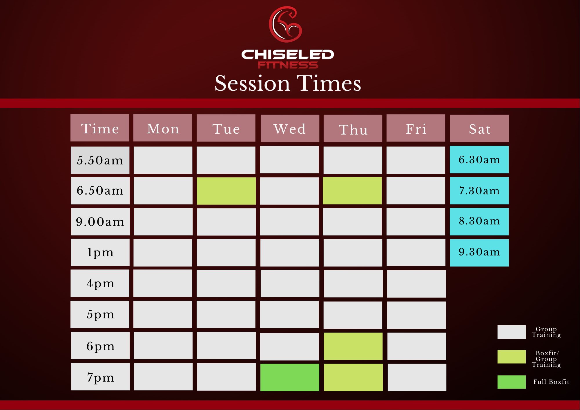 Updated Session Times