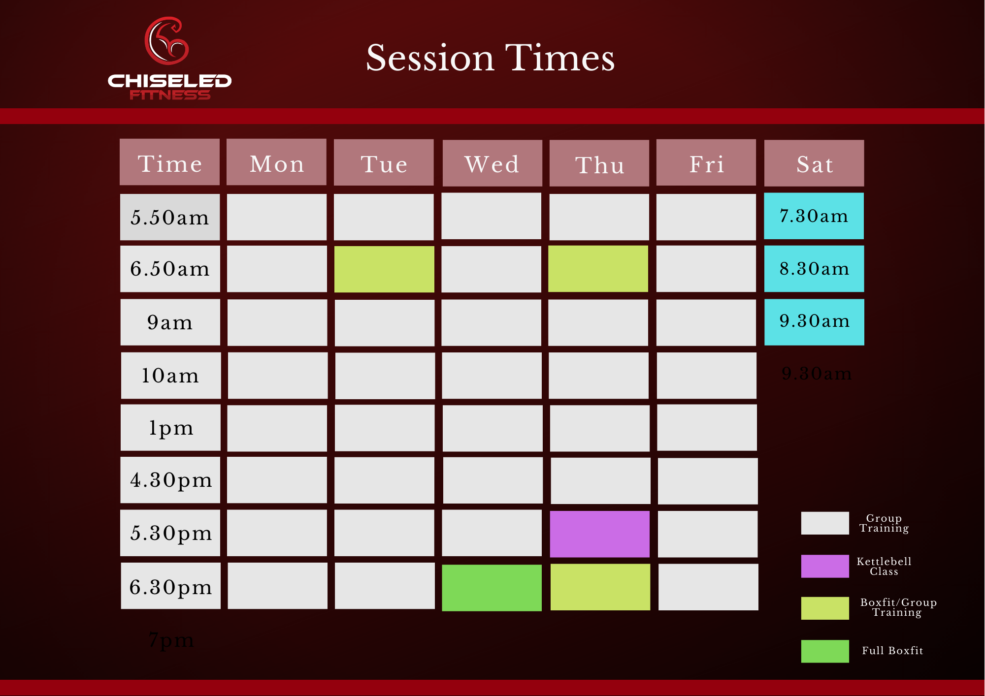Session Times Update