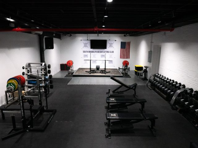 interior of SBWC including benches, and dumbbell racks