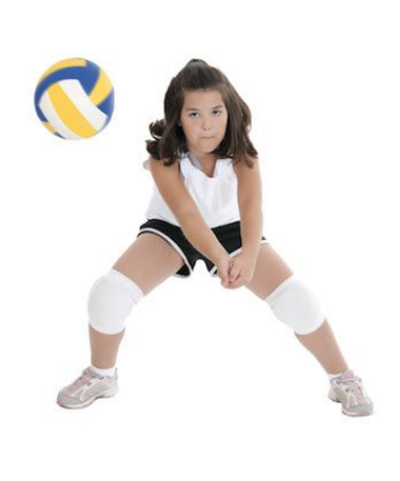 a girl playing volleyball in a white background