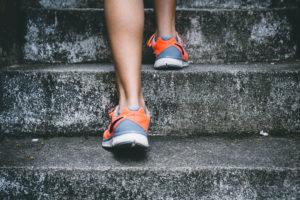 sneaker walking up steps