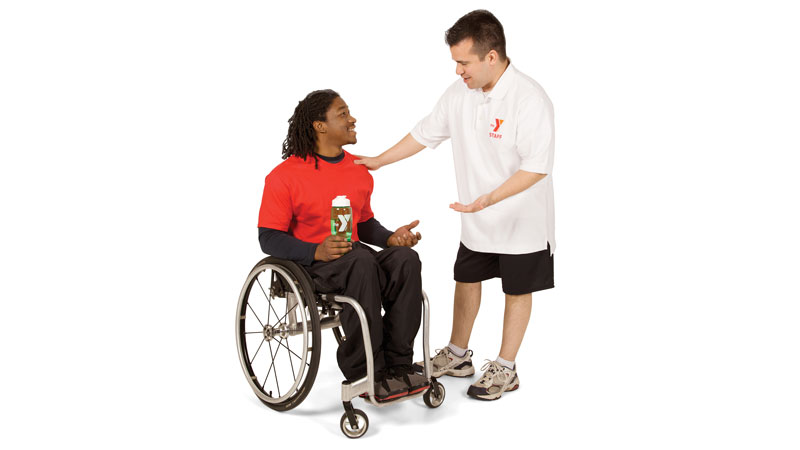 Y staff with person in wheelchair