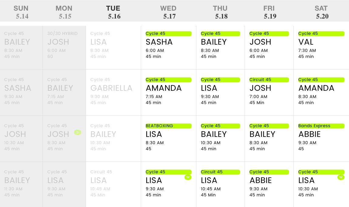 Beatbike schedule
