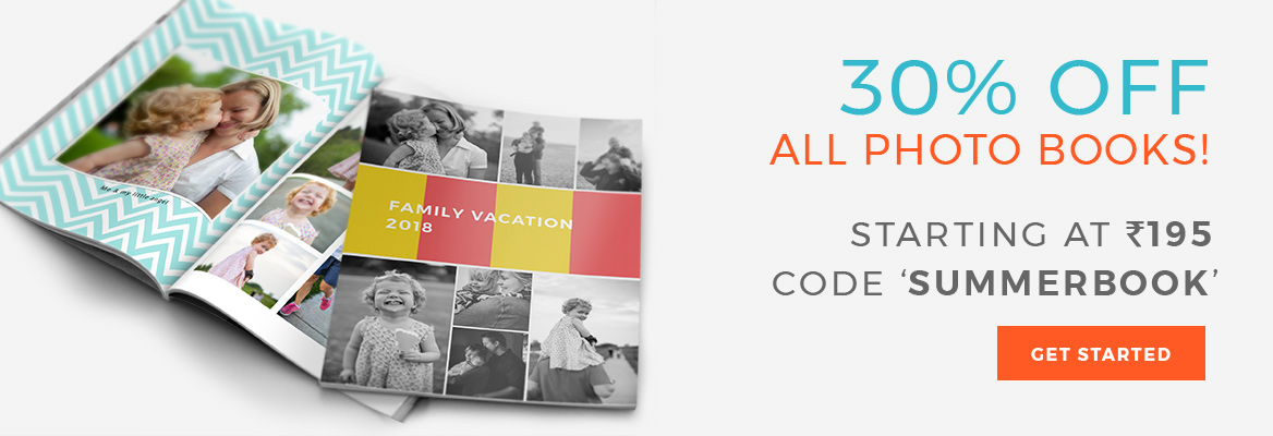 Photo Books starting at Rs. 195. Use code: SUMMERBOOK.