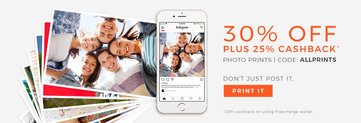 30% off on all Prints + 25% Cashback. Code: ALLPRINTS.