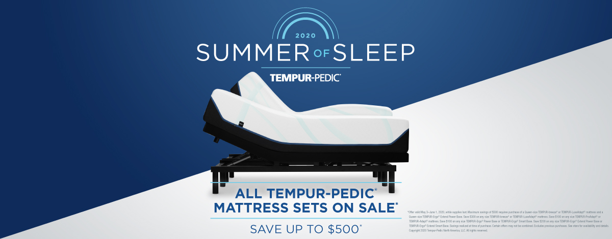 Save up to $500 on Tempur Pedic Mattresses during the Summer of Sleep sale at Z's Please