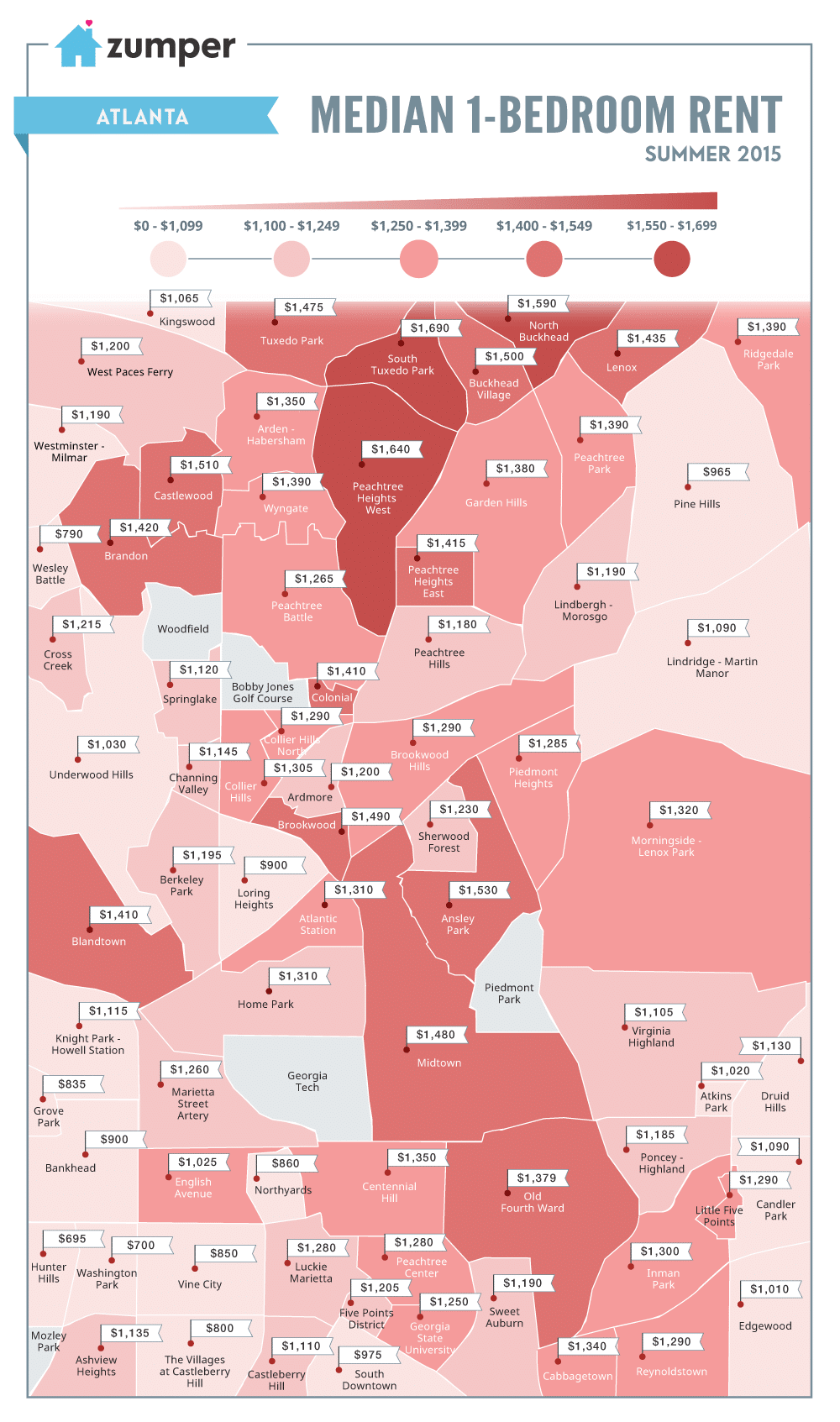 See The Cheapest And Most Expensive Atlanta Neighborhoods To Rent