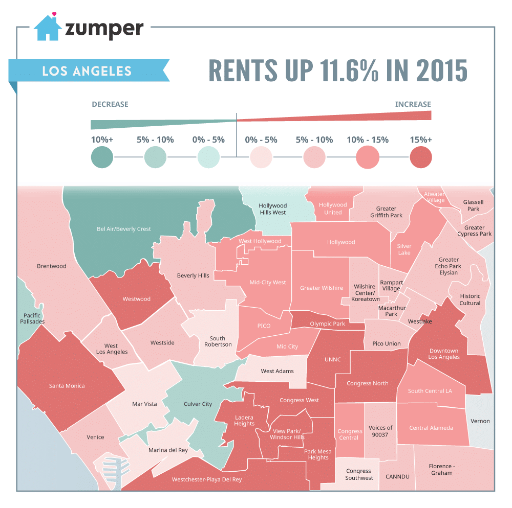 For Rent Map: LA Rent Prices Increased 11.6% In 2015