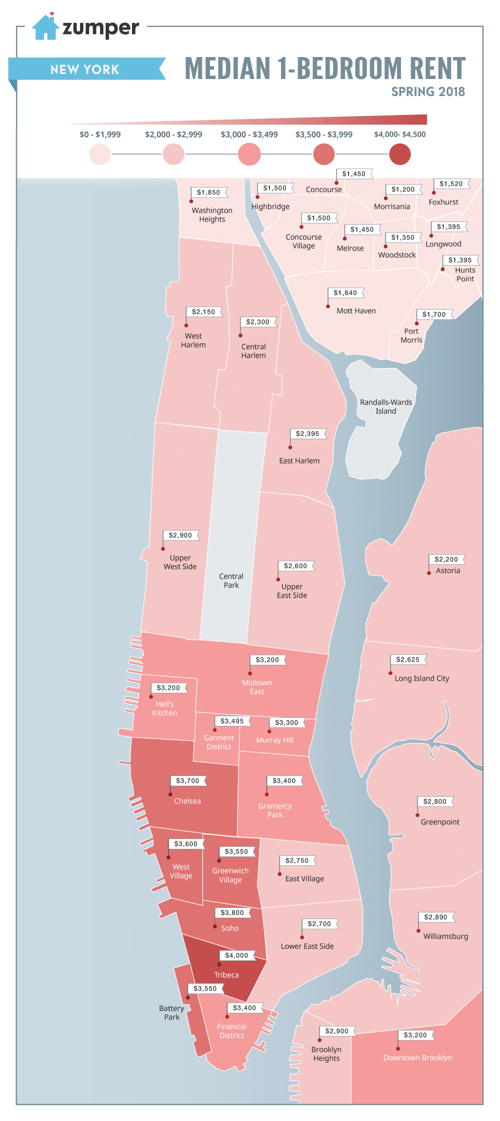 Rent Price Map Mapping New York City Neighborhood Rent Prices This Spring 2018